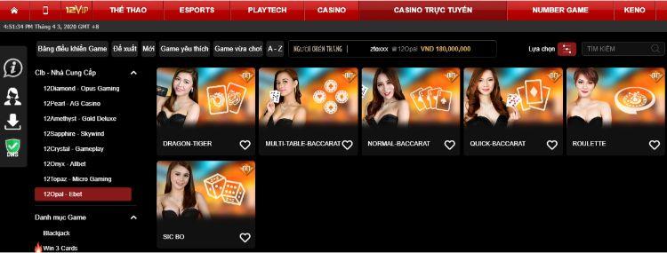 khuyến mãi Casino 12Opal